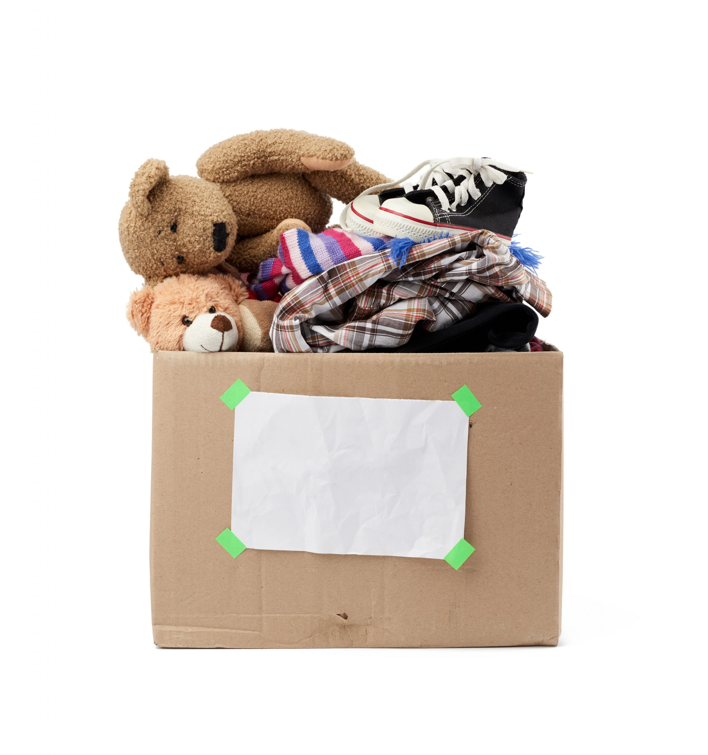 rown cardboard box with things, toys isolated on white background, concept of moving, volunteering and help